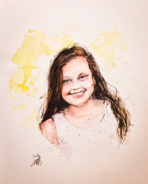 Chloe - water colour and graphiite