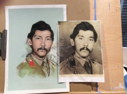 Pastel from a passport size photo of Zhulinas deceased Afghani soldier father